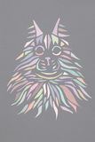 Multicolor pastel silhouette face of cat Maine Coon on grey background. Royalty Free Stock Photography