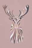Multicolor pastel silhouette face of deer on pink background. Stock Image