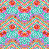 Multicolor pattern with ornamental zigzag lines Royalty Free Stock Photo
