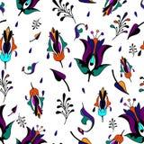 Multicolor pattern on white background. Seamless pattern flowers on white background , ornamental plants,seamless, stalk, stylization Stock Photos