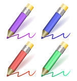 Multicolor  pencil collection. Illustration of a collection of colored  pencils Royalty Free Stock Photos