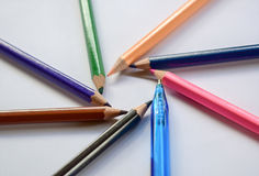 Multicolor pencils  a color  isolated Stock Photos
