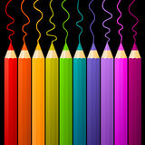 Multicolor pencils. On dark background Stock Photography