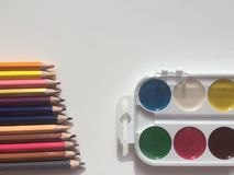 Multicolor pencils and paints Stock Images