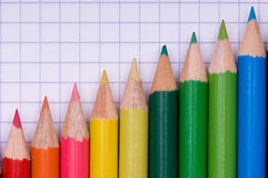 Multicolor pencils on paper Stock Photo