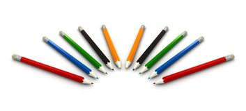 Multicolor pencils on white background Royalty Free Stock Photo