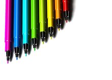 Multicolor pens on white background Stock Images