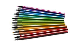 Multicolor pens on white background Royalty Free Stock Image