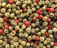 multicolor peppar kärnar ur helt Arkivfoton