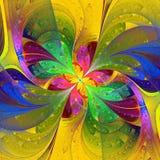 Multicolor piękny fractal kwiat na żółtym tle Comput ilustracja wektor