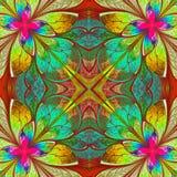 Multicolor piękny fractal w witrażu okno stylu. Comp ilustracji