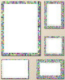 Multicolor pixel mosaic page layout template set Stock Photography
