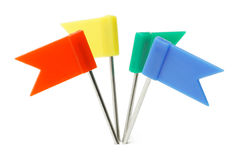 Multicolor plastic flag pins stock images