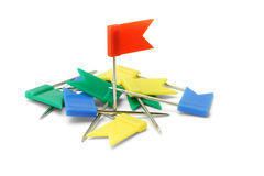 Multicolor plastic flag pins Stock Photo