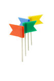 Multicolor plastic flag pins stock photos
