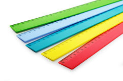 Multicolor plastic rulers Royalty Free Stock Image