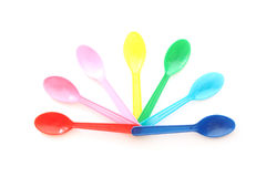 Multicolor plastic spoons Royalty Free Stock Images