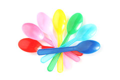 Multicolor plastic spoons Royalty Free Stock Photo