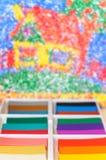 Multicolor plasticine blocks background Stock Images