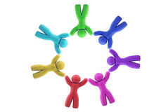 Multicolor Plasticine human figures in a circle Royalty Free Stock Photography