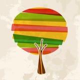 Multicolor pojedynczy drzewo royalty ilustracja