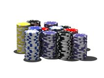 Multicolor poker chips royalty free stock photo