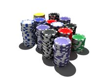 Multicolor poker chips stock photo