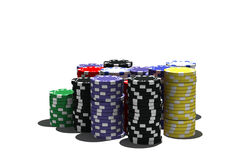 Multicolor poker chips royalty free stock photos