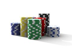 Multicolor poker chips stock photography