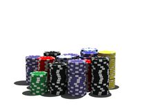 Multicolor poker chips stock image
