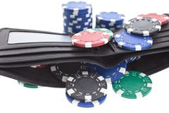 Multicolor poker chips in black leather wallet Royalty Free Stock Image
