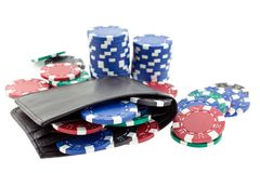 Multicolor poker chips in black leather wallet Royalty Free Stock Photo
