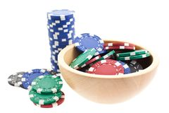 Multicolor poker chips bowl Stock Photography