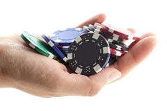 Multicolor poker chips handful Stock Image
