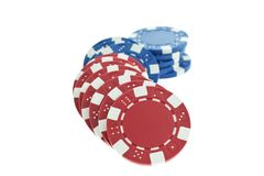 Multicolor poker chips heap isolated Stock Images