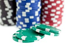 Multicolor poker chips heaps isolated Stock Image