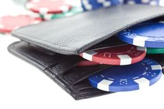 Multicolor poker chips in leather wallet Stock Photography