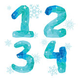 Multicolor polygons isolated numbers  1,2,3,4.Ice winter collect Stock Photo