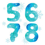 Multicolor polygons isolated numbers 5,6,7,8.Ice winter collecti Royalty Free Stock Image