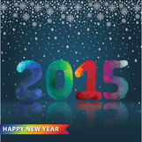 Multicolor polygons numbers with snowfall.New year 2015 Stock Photos
