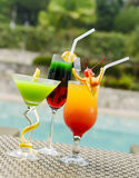Multicolor Pool Cocktails Stock Images