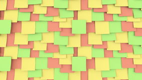 Multicolor post it stickers on the wall. Office work or reminder concepts. 4K seamless loop close up dolly clip stock footage