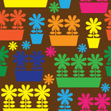 Multicolor pot of flowers icon of seamless Royalty Free Stock Photography