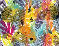 Multicolor print, seamless pattern with trendy autumn background, exotic leaves. Vector botanical illustration, Great. Design element for congratulation cards stock illustration
