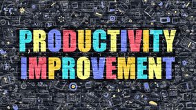 Multicolor Productivity Improvement on Dark Brickwall. Royalty Free Stock Photos