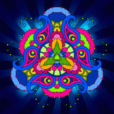 Multicolor psychedelic mandala in blue background with rays. Royalty Free Stock Photography