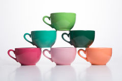 Multicolor pyramid cups Royalty Free Stock Photos