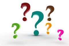 Multicolor question-marks Royalty Free Stock Images