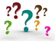 Multicolor question-marks Stock Photo