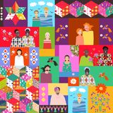 Multicolor quilt with cute cartoon people of different ages and races, flowers, birds and patchwork pattern. Can be used for wrapping, poster, card, invitation Royalty Free Stock Photography
